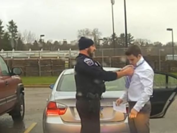Wisconsin Police Officer Helps Speeding Student Tie His Tie During Traffic Stop