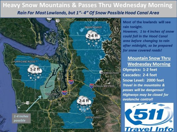 Winter storm could dump two feet of snow in Cascades starting tonight