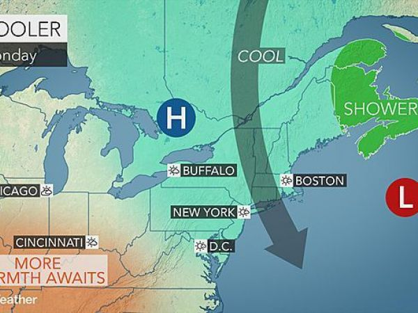 Partly sunny skies, highs near 64 for Monday
