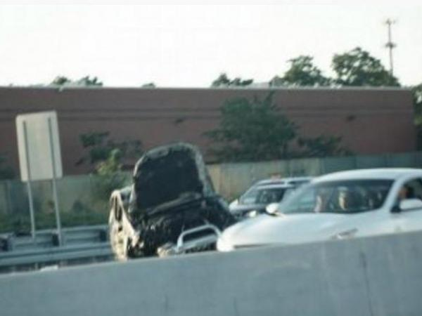 Turnpike Accident Car Flipped