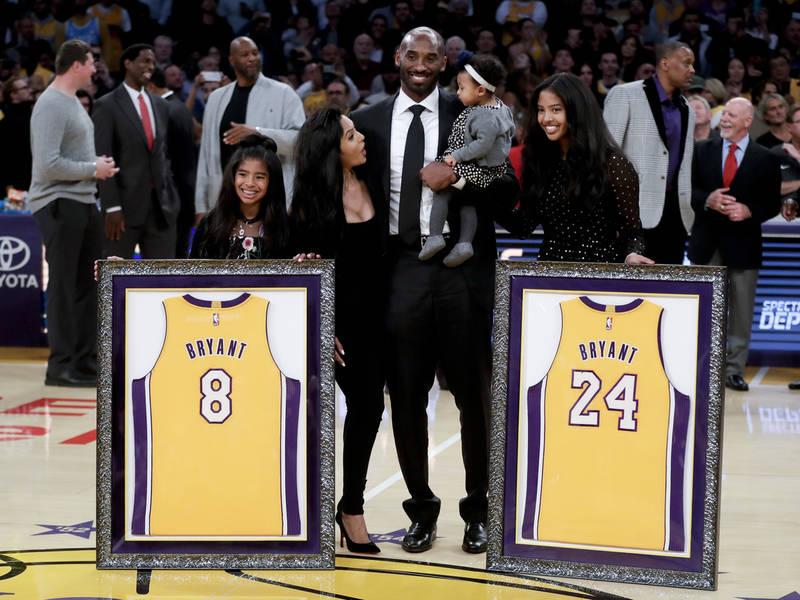e0910b92ebd7 Lakers Retire Both Of Kobe Bryant s Jerseys