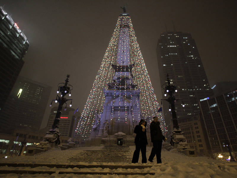 Winter Storm Delaying Take Down Of Downtown Indy Christmas Lights. INDIANAPOLIS ...