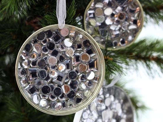 Simple Rhinestone Recycled Ornament