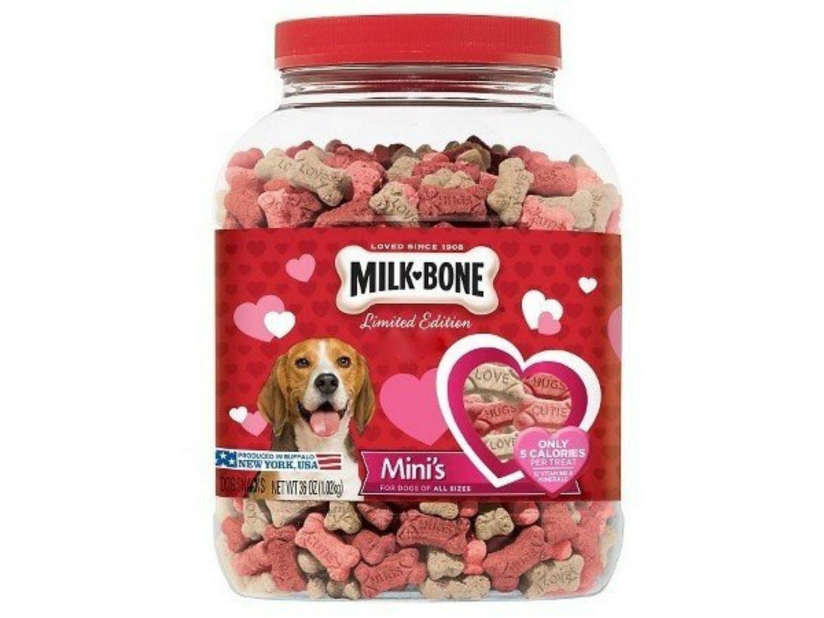 Milk Bone Minis Flavor Snacks Valentines Canister Dog Biscuits