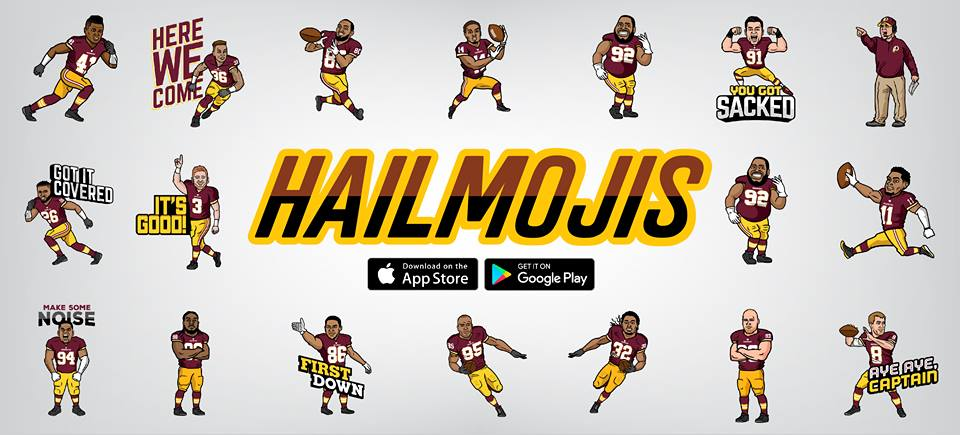 Washington redskins launch free team emojis ashburn va patch in creating the hailmojis redskins players were an integral part of the customized design process to create the most realistic and believable voltagebd Images