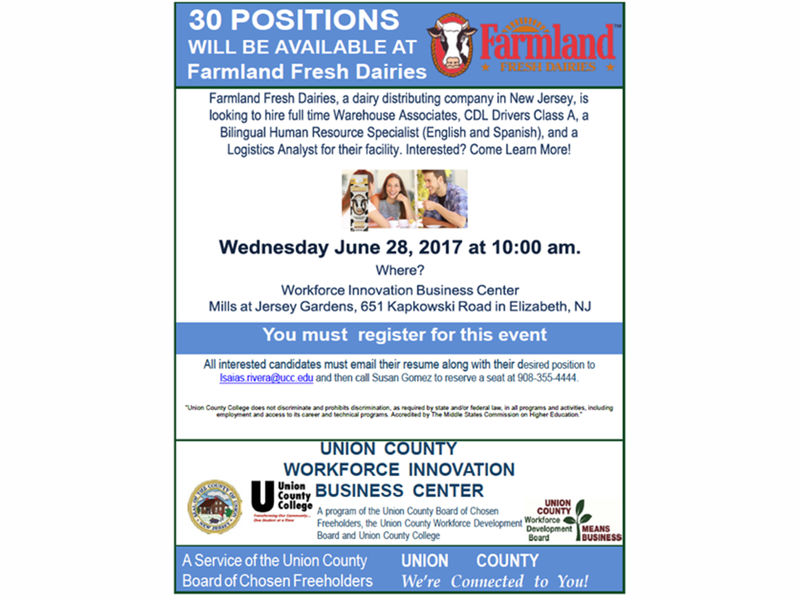 Union County Freeholders Announce 30 New Jobs Available through WIB