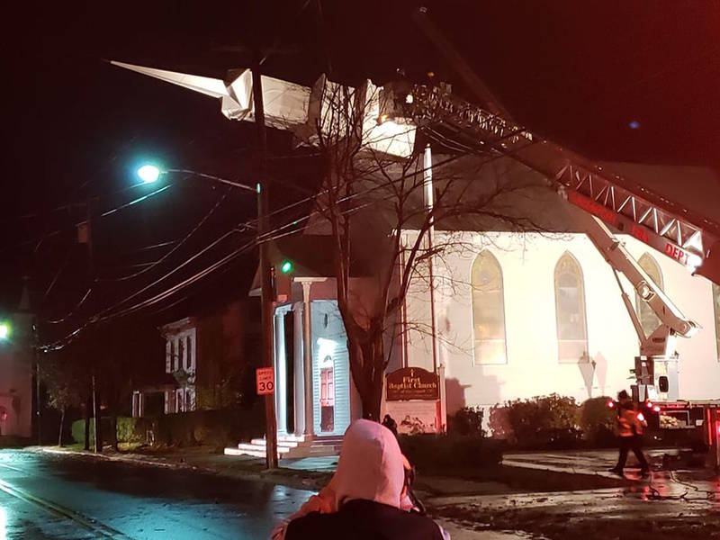 High Winds Topple Church Steeple In Greenport