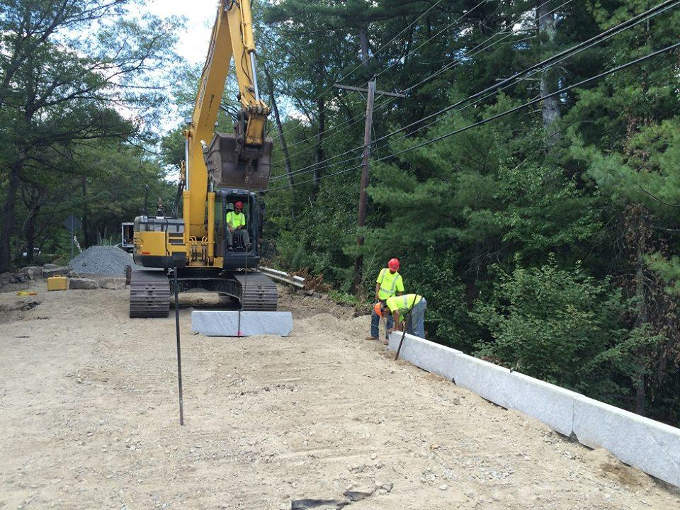 Large Granite Curb Installed on Groton Road Culvert Project