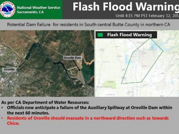 Mandatory evacuation orders lifted near Lake Oroville