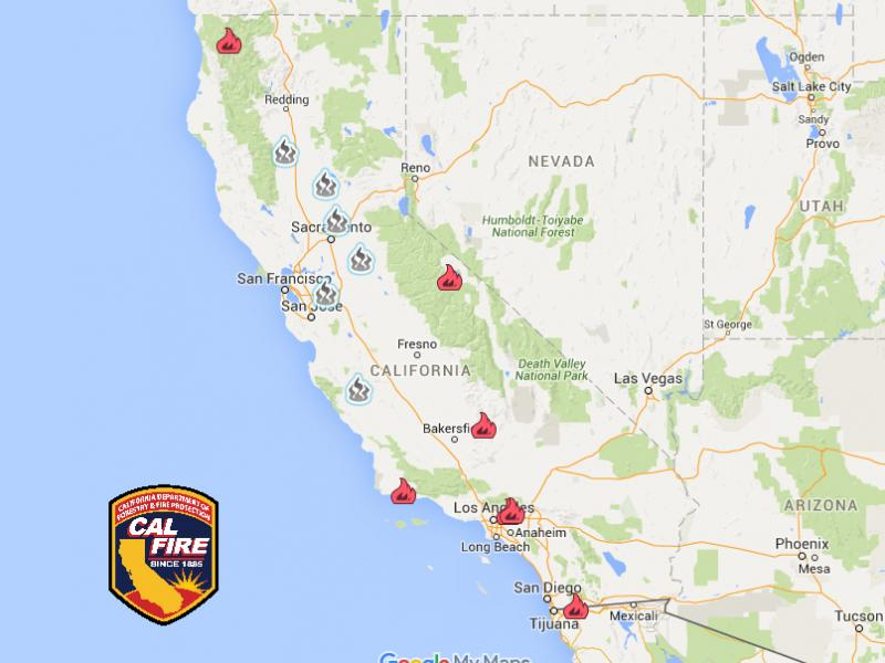 Large Wildfire Map.California Wildfire Latest 9 Large Fires 2 Deaths Hundreds Of