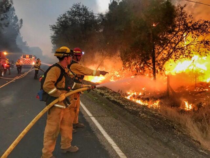 current ca fires  240 000  acres burned by 13 major incidents  7 600 firefighters on the lines