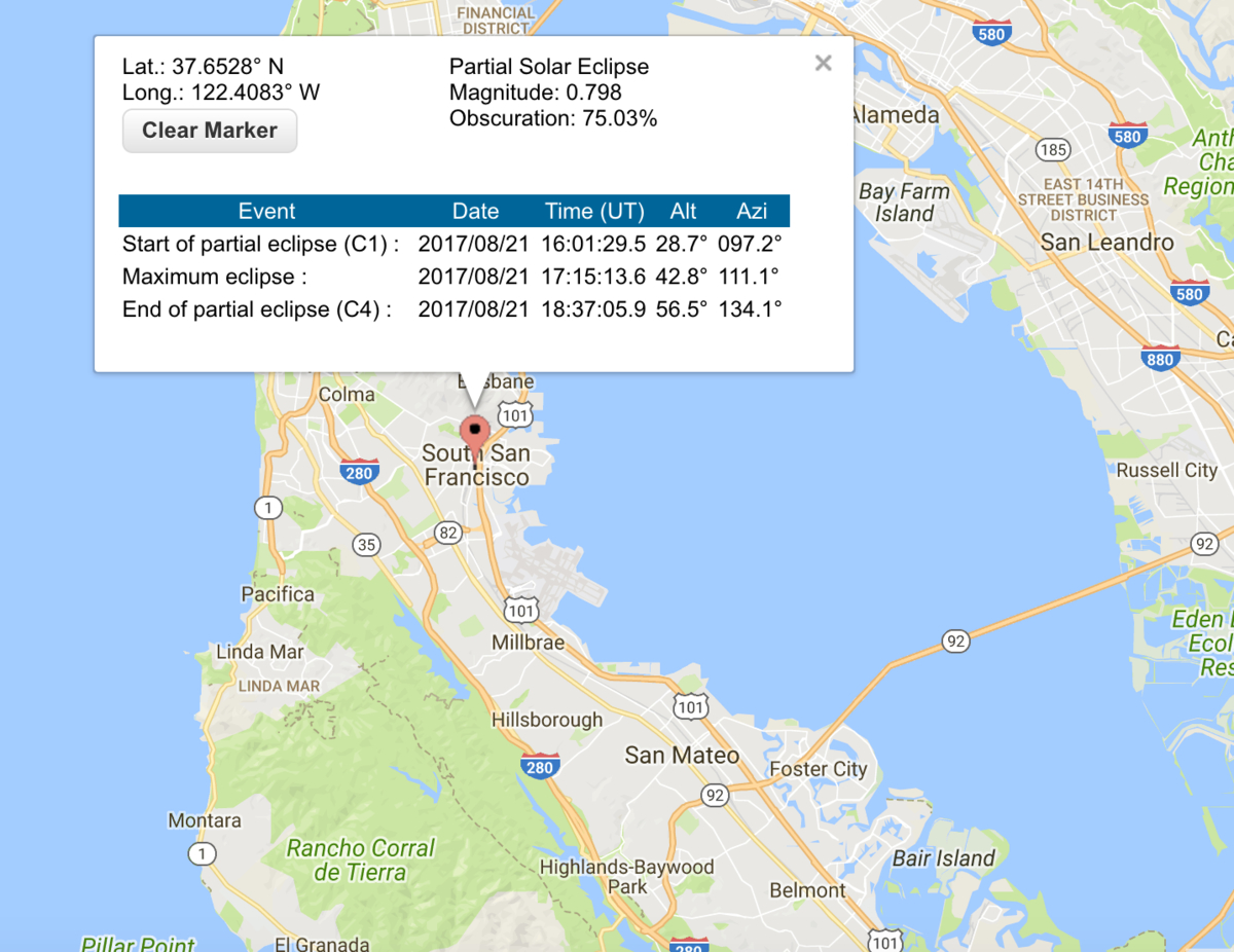 What Time Will The Aug 21 2017 Eclipse Hit South San Francisco