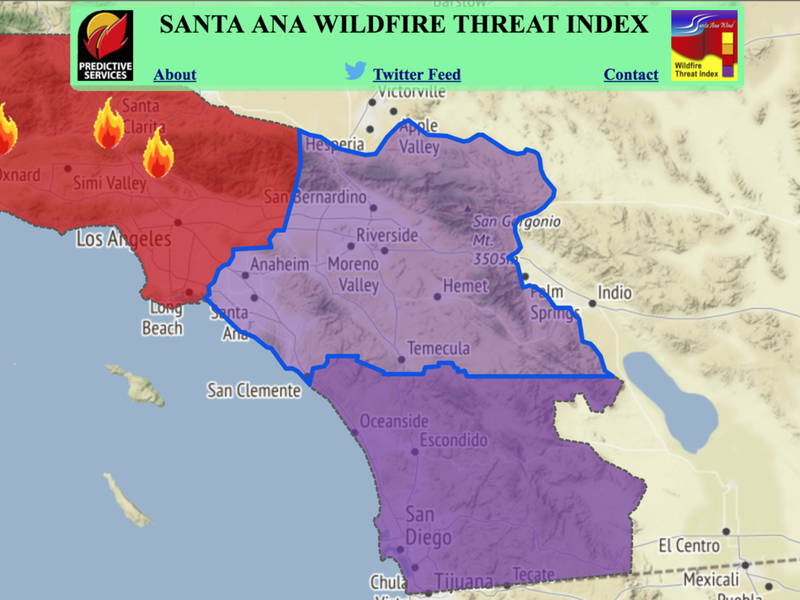 Temecula Under Rare Purple Warning 75 MPH Winds Forecast Nearby