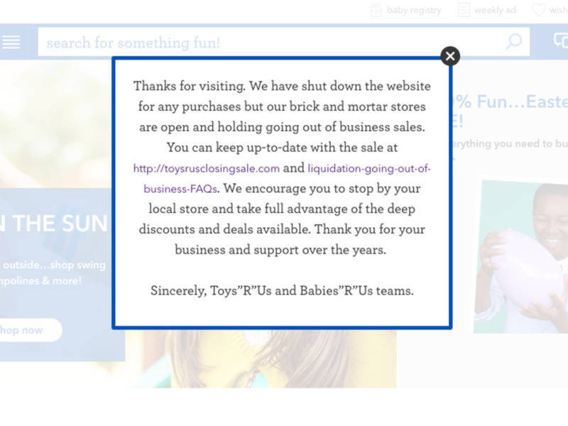 toys r us shuts down websites