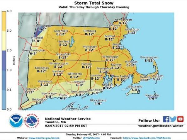 Weymouth Expected to Get 8-12 Inches of Snow Thursday