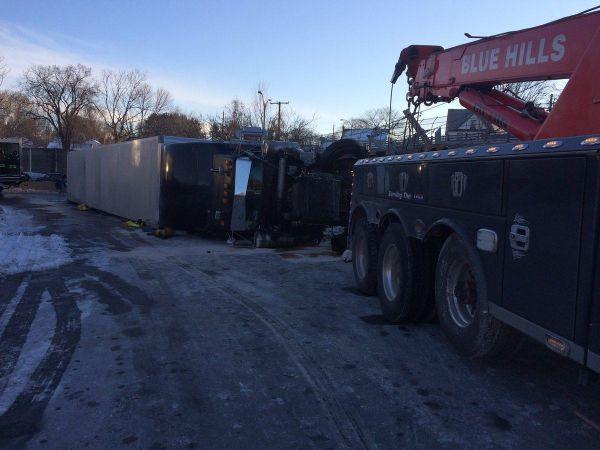 Creamed cheese: Truck hauling cheese flips over near Boston