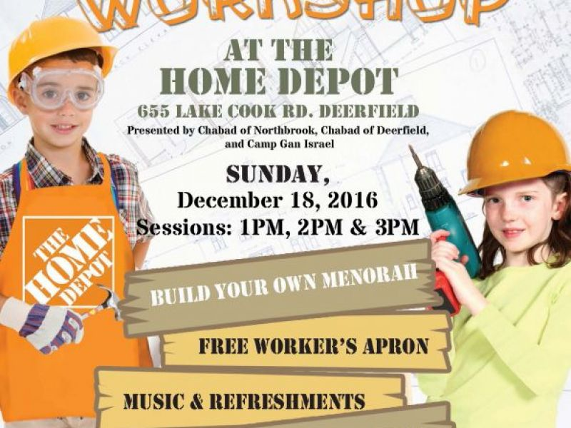 menorah workshop at deerfield home depot with lubavitch chabad of northbrook0