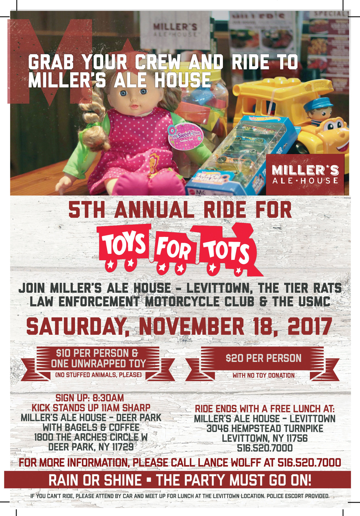 Toys For Tots 2017 Poster : Toys for tots bike run miller s ale house levittown