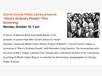 Film: Alice's Ordinary People at the Carroll Arts Center, Monday, October 16 at 7:00 pm.