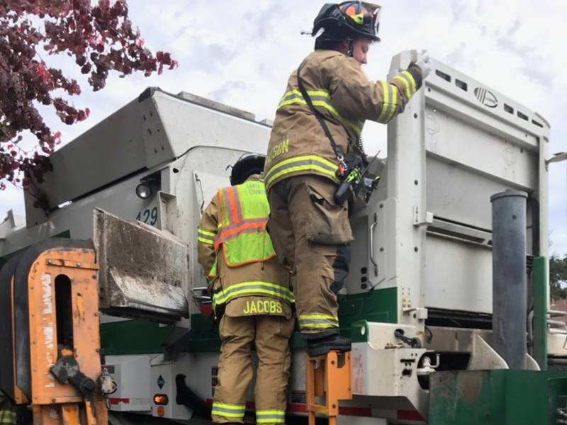 Man Stuck In Garbage Truck, Rescued By Fire Crew-0