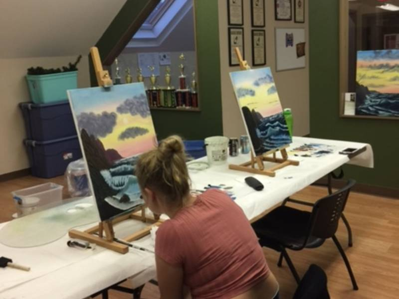 Bob ross style painting class monroe ct patch for Painting classes ct