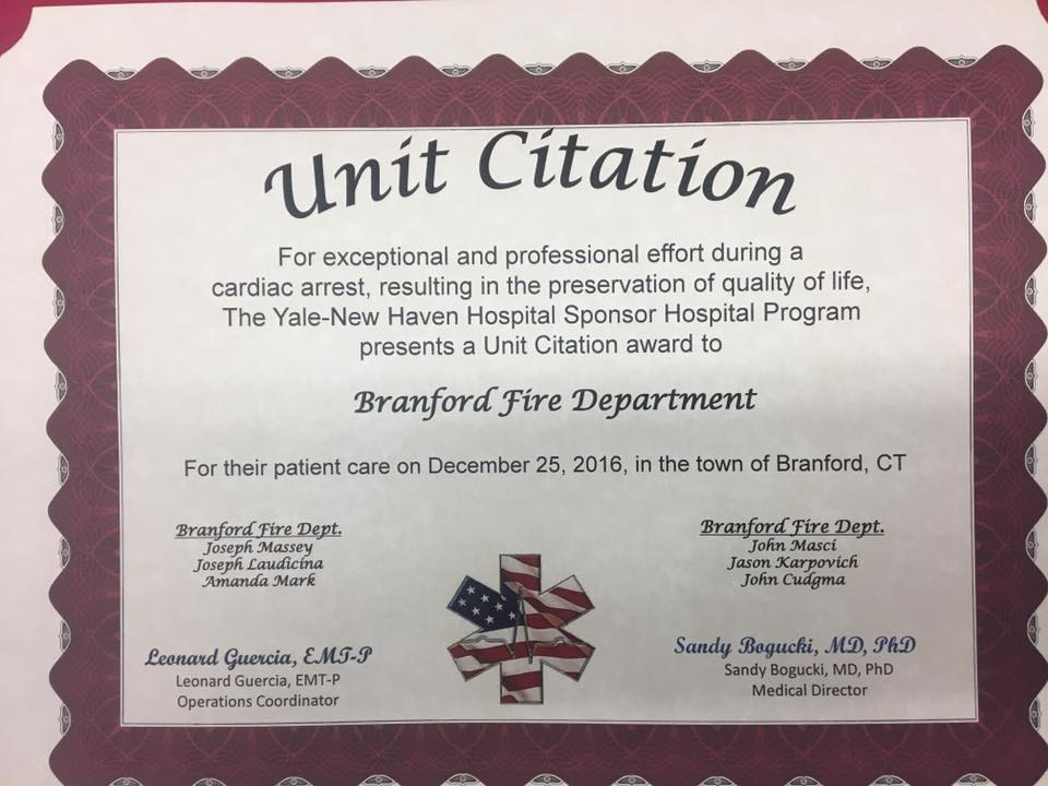 branford fire department honored for saving a life