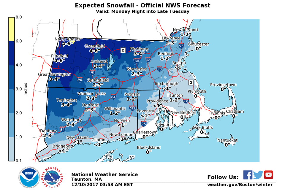 litchfield county could see the most snow tuesday which would be 3 to 4 inches according to the national weather service