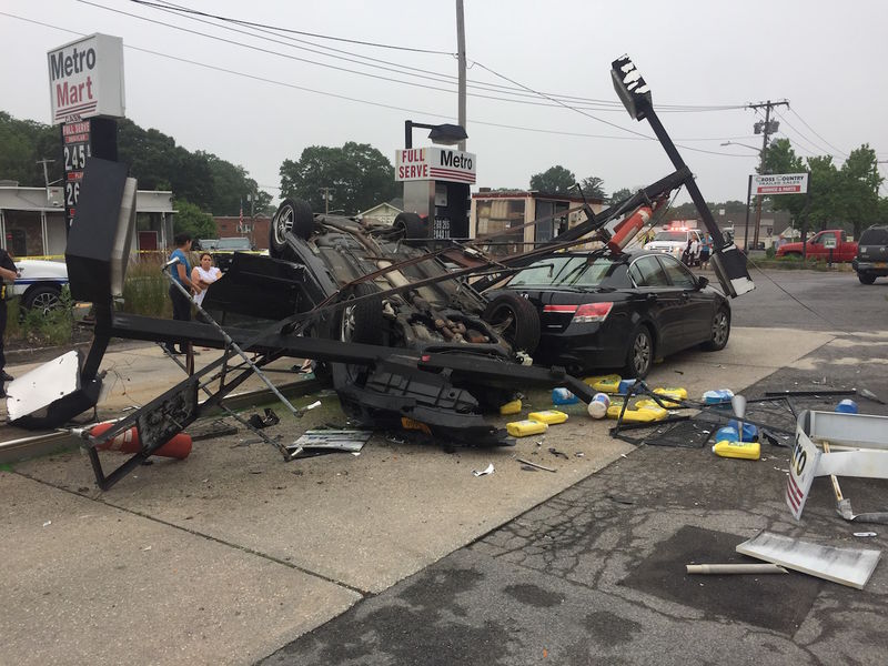 Car crashes into gas station overturns in east northport - Garden state parkway gas stations ...