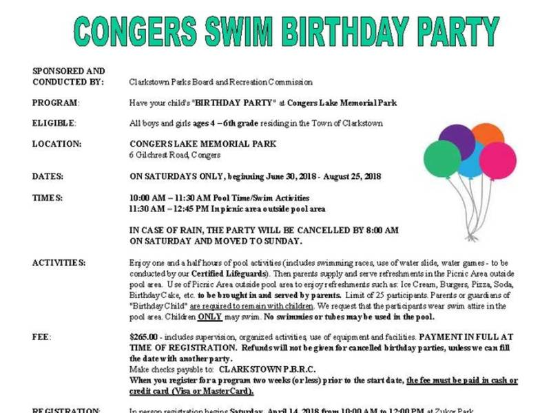 Town Of Clarkstown 2018 Congers Swim Birthday Party New City Ny Patch