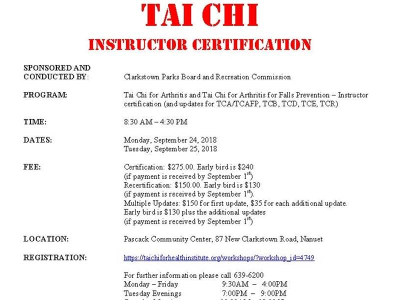 Town Of Clarkstowns Tai Chi Instructor Certification New City Ny