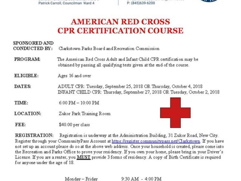Town Of Clarkstown American Red Cross Cpr Certification Course New