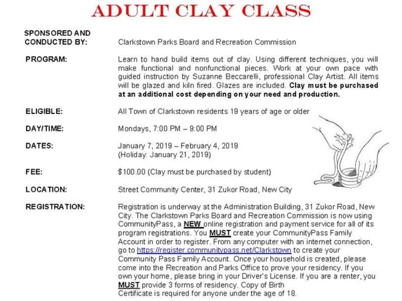 80687c9cf70 Town of Clarkstown Adult Clay Class Winter 2019