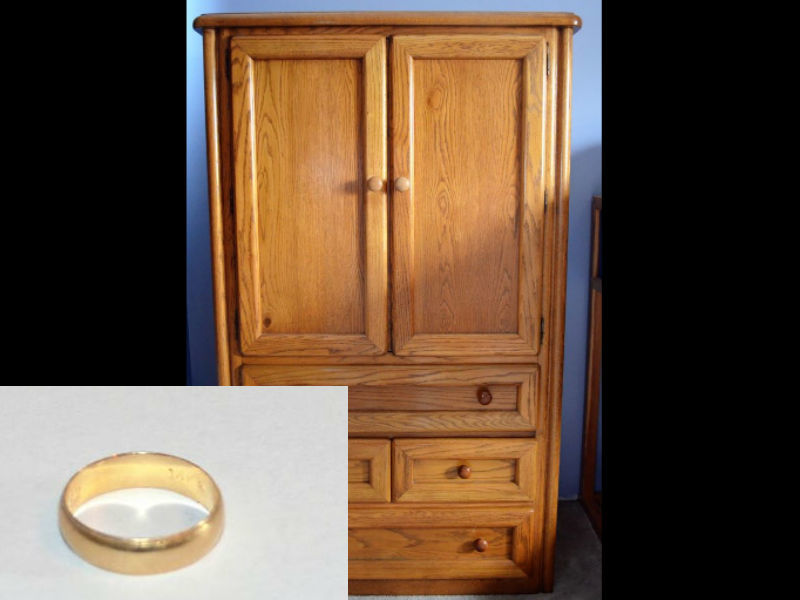 wedding ring found in donated armoire orland park il patch. Black Bedroom Furniture Sets. Home Design Ideas