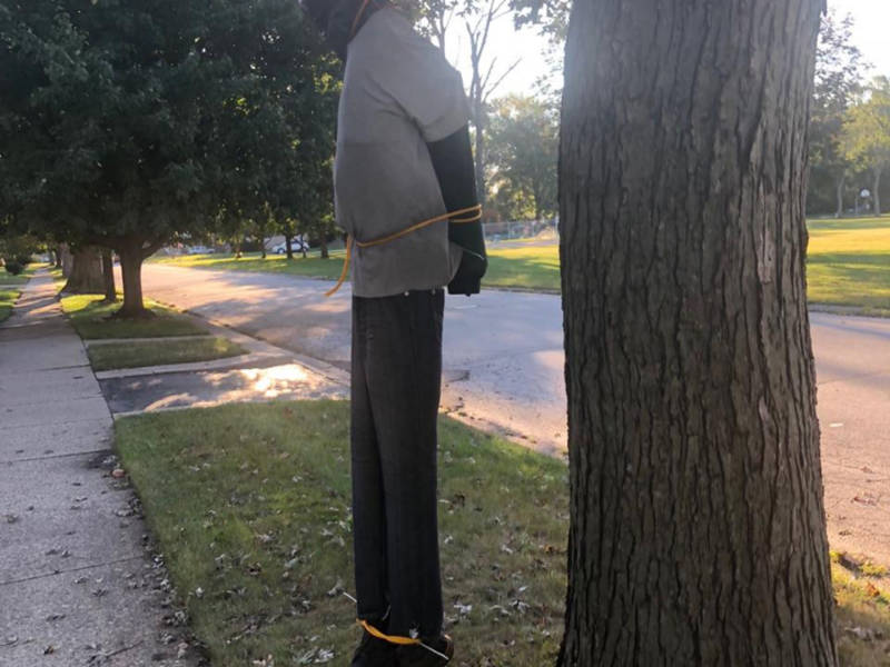 halloween decoration in lansing yard appeared to depict lynching