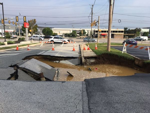 Large Sinkhole Opens Up Road In King Of Prussia