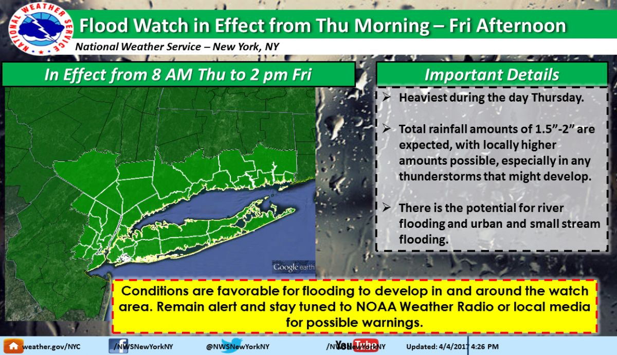 NYC Weather Forecast Flood Watch Ahead Of Heavy Rain