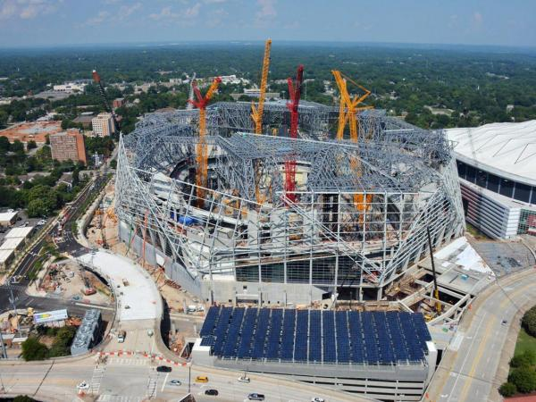 Just how big is the new mercedes benz stadium atlanta for Who owns mercedes benz stadium