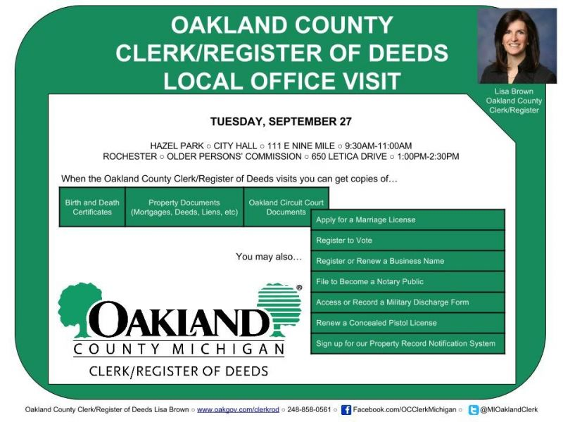 Lisa Brown Oakland County Clerkregister Delivers Services To