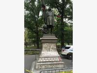 christopher columbus statue vandalized in central park police say