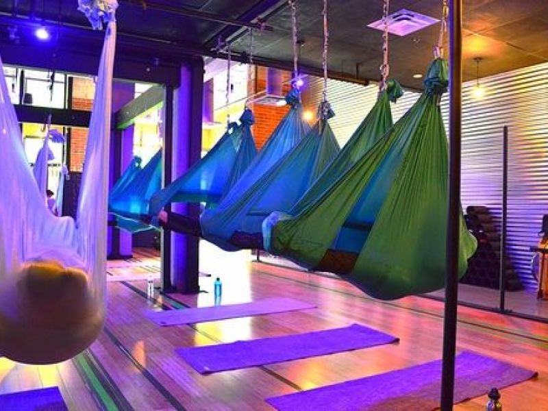 floating guided mediation in a aerial silk hammock in south end floating guided mediation in a aerial silk hammock in south end      rh   patch