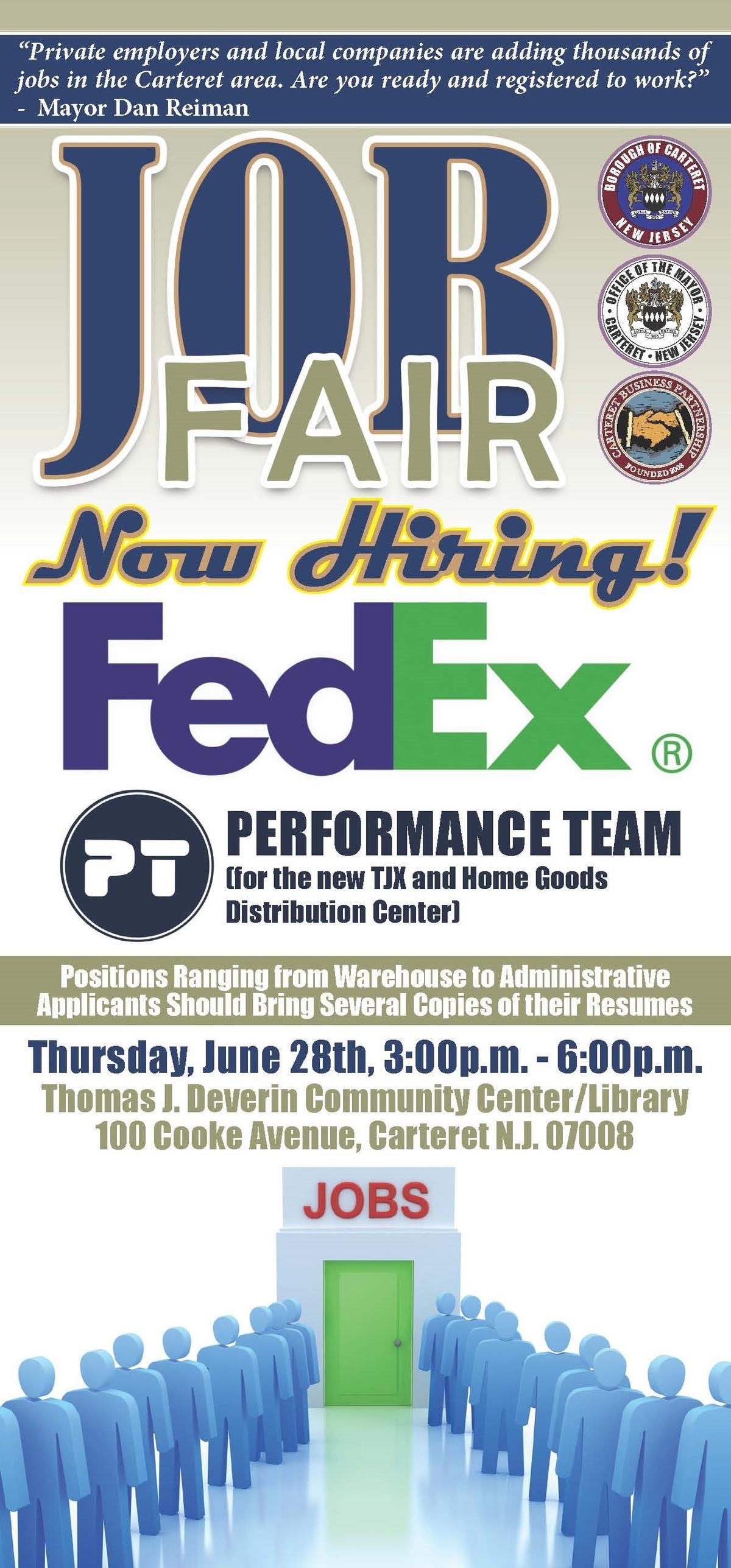 fedex homegoods tj maxx job fair in carteret june 28 woodbridge