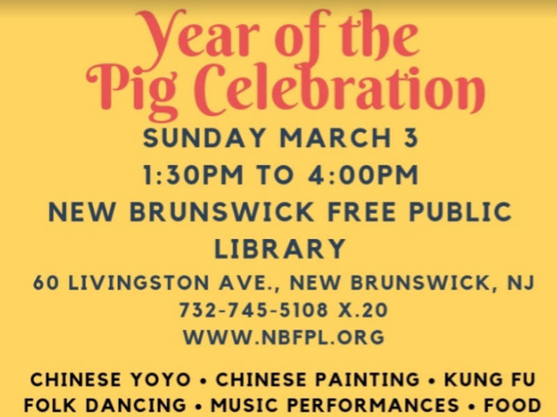 Year Of The Pig Celebration March 3 At New Brunswick Library
