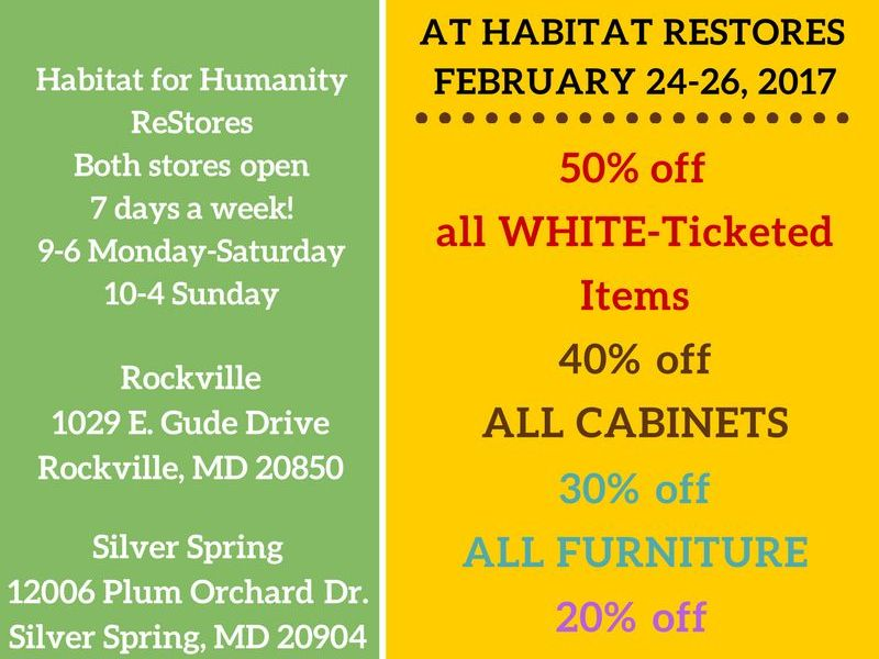 End Of The Month Clearance At Habitat For Humanity Restores Gaithersburg Md Patch