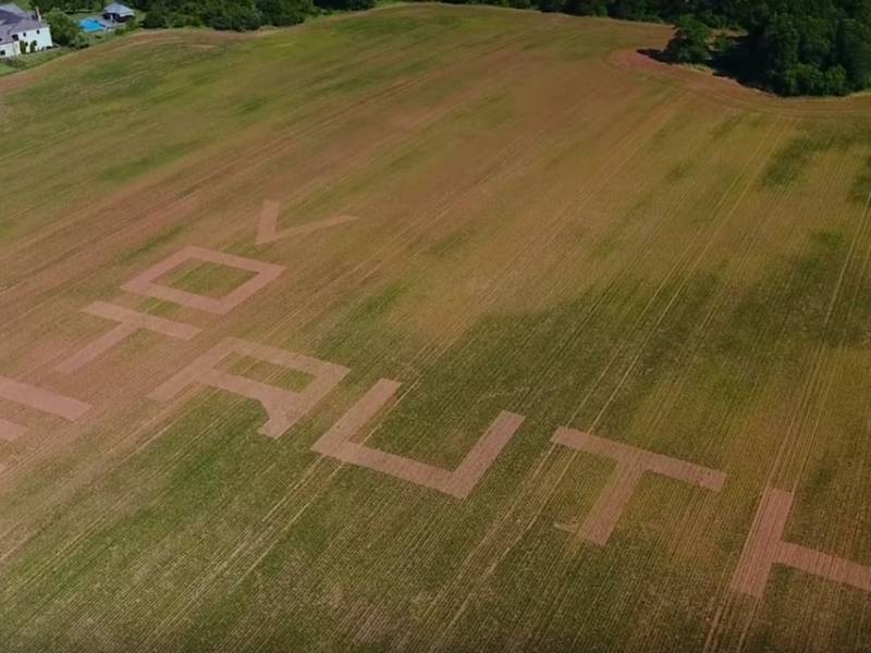 Giant message cut into cornfield outside trump s golf club