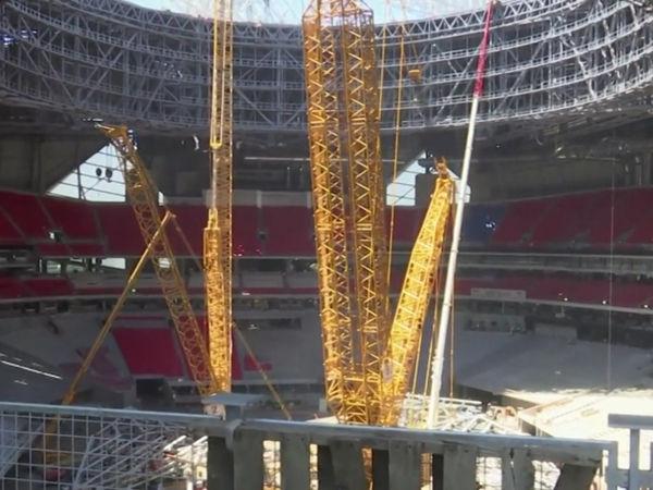 First look inside atlanta 39 s mercedes benz stadium for Inside mercedes benz stadium