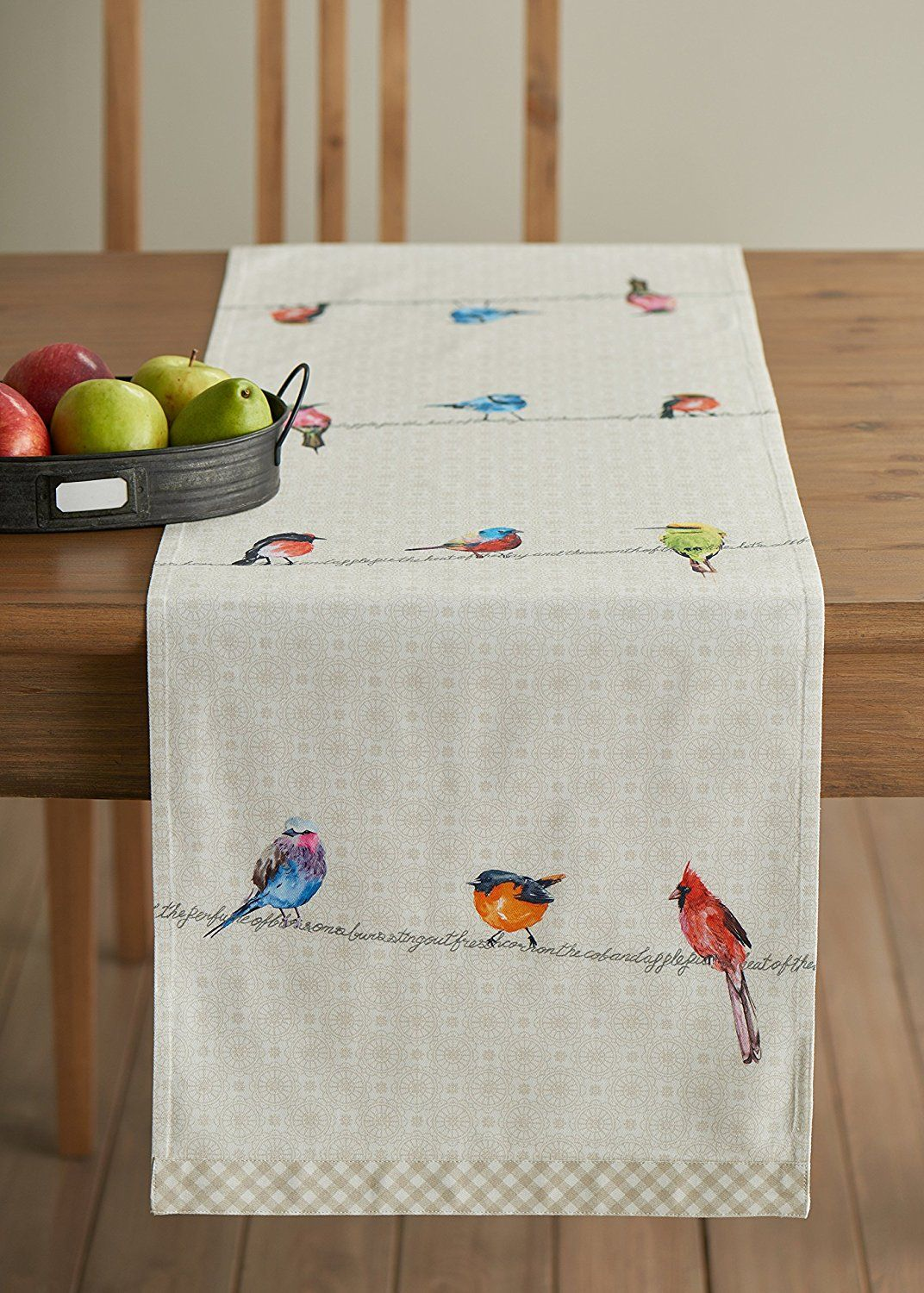 Bring the birds inside with this 100 percent cotton table runner. Don't  worry if one of your little chickadees spills on it, either, ...