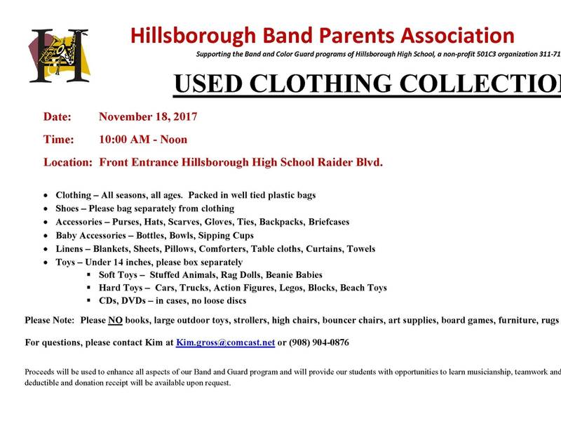 hillsborough band parents used clothing and toy collection