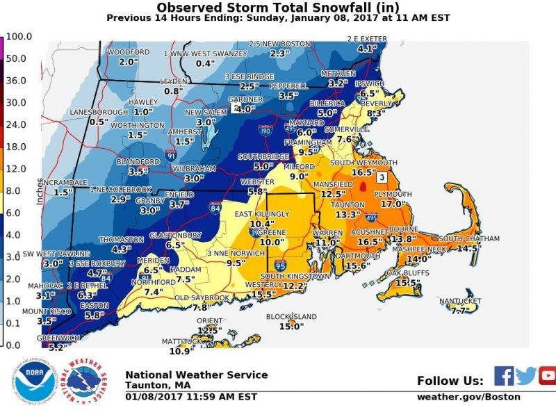 Massachusetts TownbyTown Snow Totals Boston MA Patch - Snowfall totals massachusetts