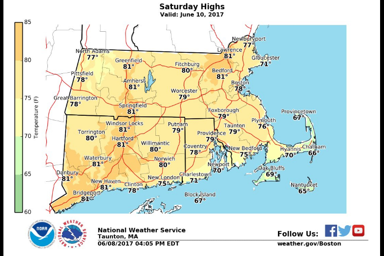 Massachusetts Weather Forecast Heat Wave Finally Boston MA Patch - 10 day weather forecast worcester ma