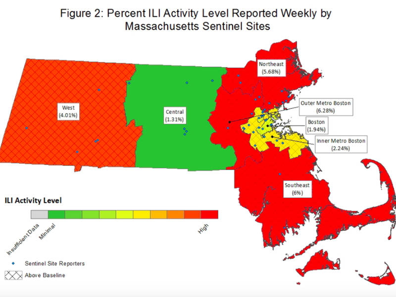 MA Sen Asks For 1B To Combat Flu As State Sees Another Increase - Flu In The Us Map